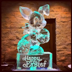Easter Bunny shaped ice sculpture