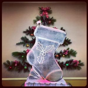 Stocking shaped ice sculpture