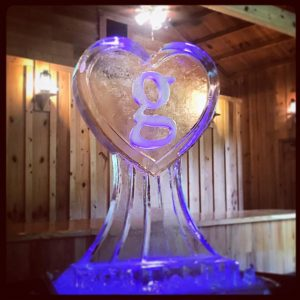 Heart shaped ice sculpture