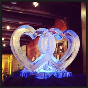 Interlocking hearts ice sculpture