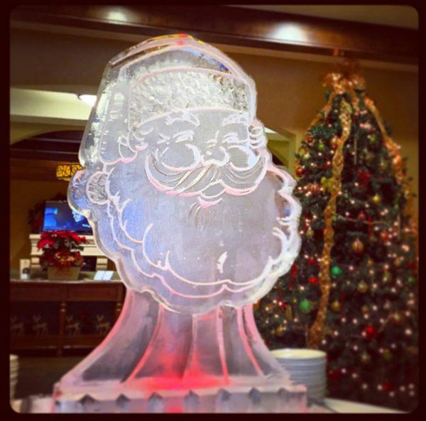 Santa shaped ice sculpture