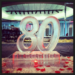 80th birthday ice sculpture; by Full Spectrum Ice Sculptures; serving Austin to San Antonio