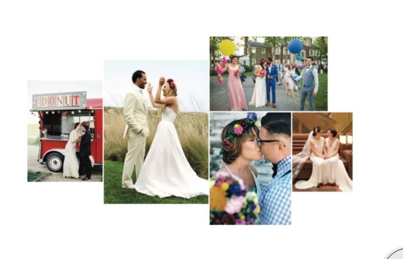 Photo collage of wedding pictures on The Knot's Home Page