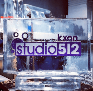 Single Block ice sculpture for KXAN Studio512 special by Full Spectrum Ice Sculptures