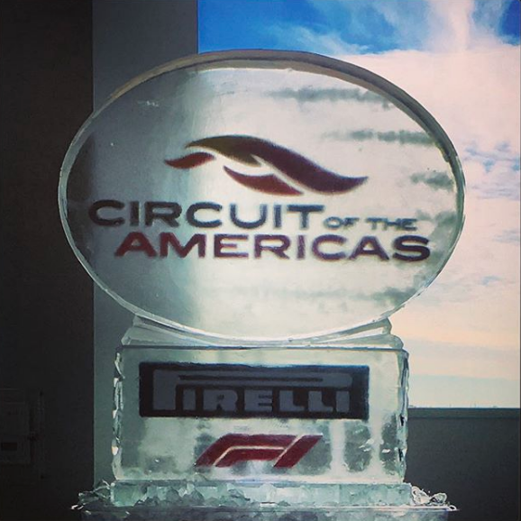 Oval Ice Sculpture on Pedestal with Logo