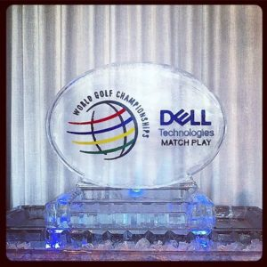 Oval shaped ice sculpture with Dell logo by Full Spectrum Ice Sculptures
