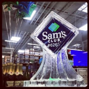 Sam's Club logo ice sculpture by Full Spectrum Ice Sculptures