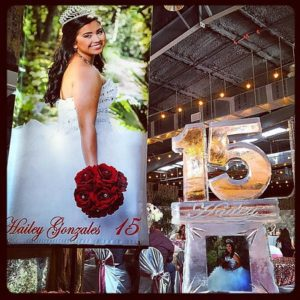 Quinceañera themed Ice Sculpture, big 15 photo booth; by Full Spectrum Ice Sculptures, serving Austin to San Antonio