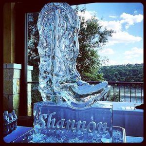Cowboy boot ice sculpture for a birthday party; by Full Spectrum Ice Sculptures, serving Austin to San Antonio