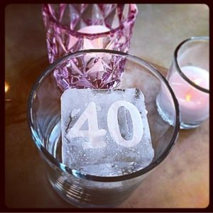 Birthday craft ice cubes; by Full Spectrum Ice Sculptures, serving Austin to San Antonio