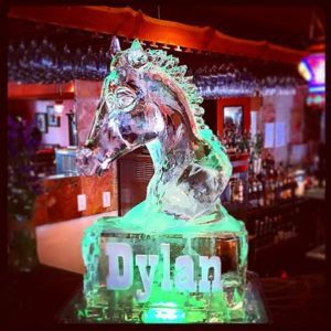 Horse shaped ice sculpture, themed birthday party; by Full Spectrum Ice Sculptures, serving Austin to San Antonio