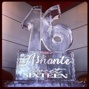 Sweet 16 ice sculpture, large 16 on pedestal with name and Sweet Sixteen; by Full Spectrum Ice Sculptures, serving Austin to San Antonio