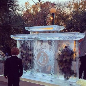 Floral Ice Art Display by Full Spectrum Ice Sculptures