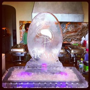 "Custom Ice sculpture food tray with large oval and flamingo etched on the front for a ""Flamingle"" by Full Spectrum Ice Sculptures"