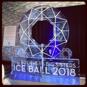 Custom circle shaped entry display made of ice by Full Spectrum Ice Sculptures for Big Brother Big Sisters Ice Ball 2018