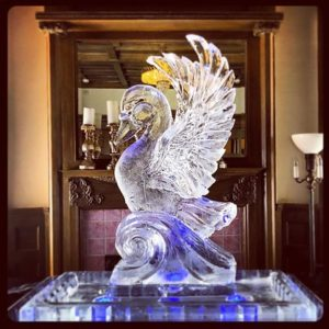 Swan shaped 3-D ice sculpture by Full Spectrum Ice Sculptures