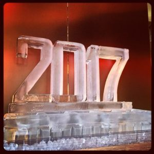 2017 shaped Ice Sculpture for New Years party by Full Spectrum Ice Sculptures