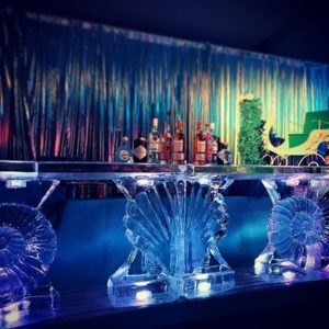 Ice Bar with Shells as Pedestals by Full Spectrum Ice Sculptures