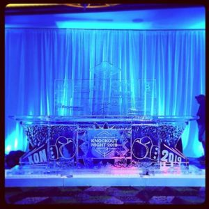 Large Ice Bar by Full Spectrum Ice Sculptures for Knockout Night