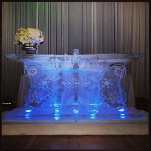 Winter themed ice bar by Full Spectrum Ice Sculptures