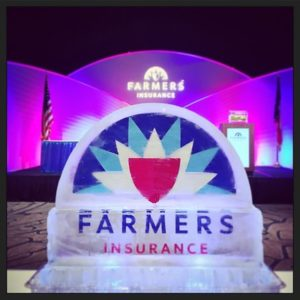 Ice Sculpture display for Farmers Insurance by Full Spectrum Ice Sculptures