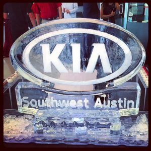 Kia Southwest Austin logo on oval backed ice tray by Full Spectrum Ice Sculptures