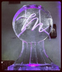 Double shot ice luge with monogram for wedding by Full Spectrum Ice Sculptures