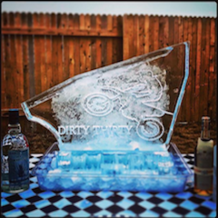 Dirty Thirty shot block; ice luge sculpture by Full Spectrum Ice Sculptures; serving Austin to San Antonio